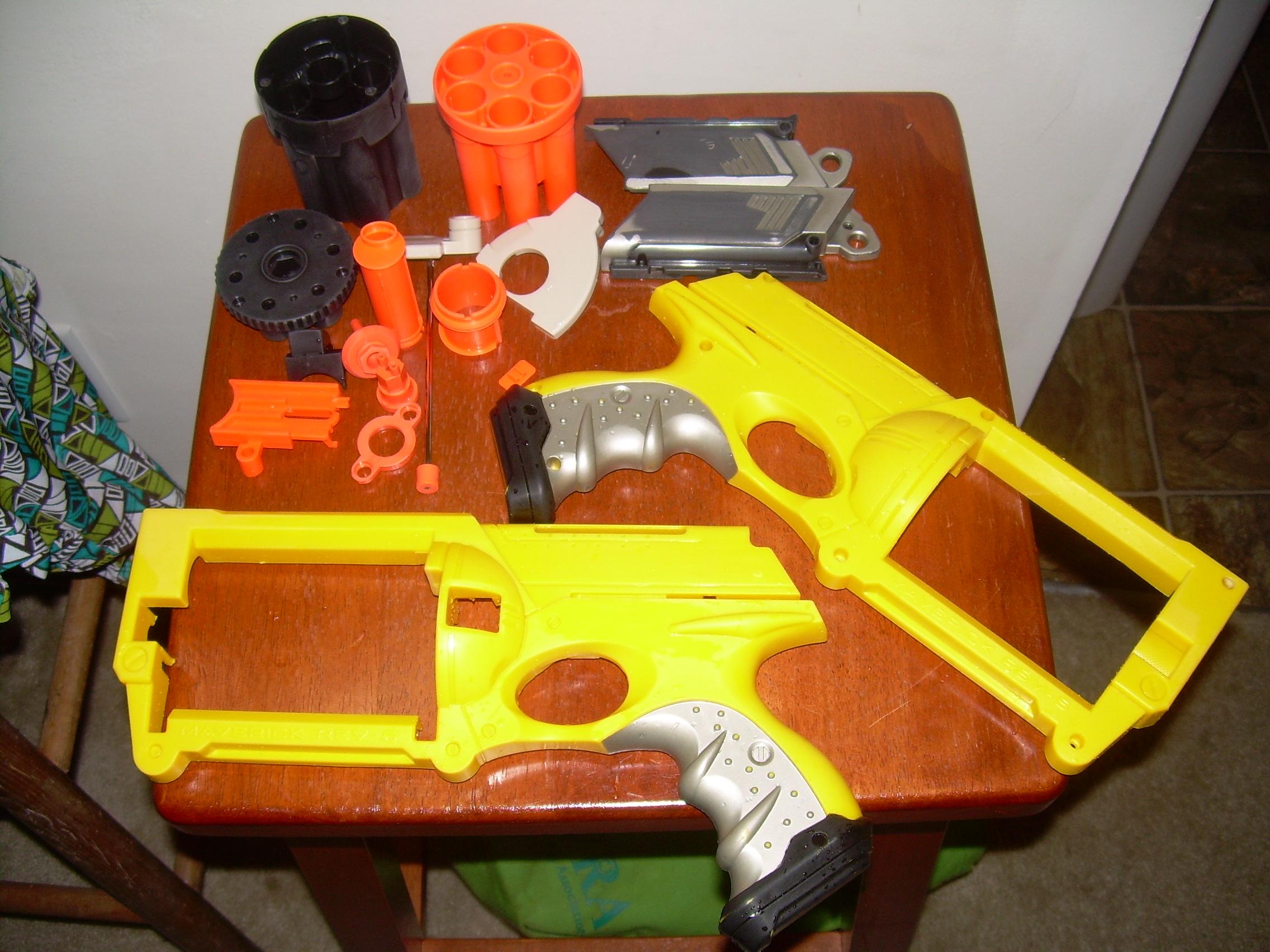 Nerf Maverick parts washed