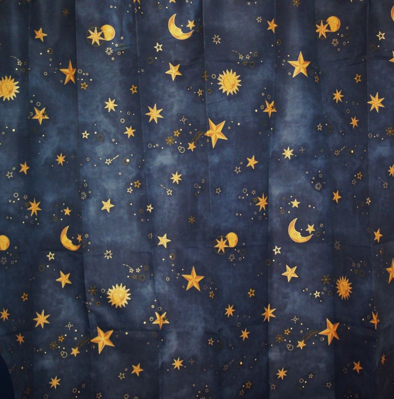 Moon Sun Stars Celestial Fabric in Shower Curtains