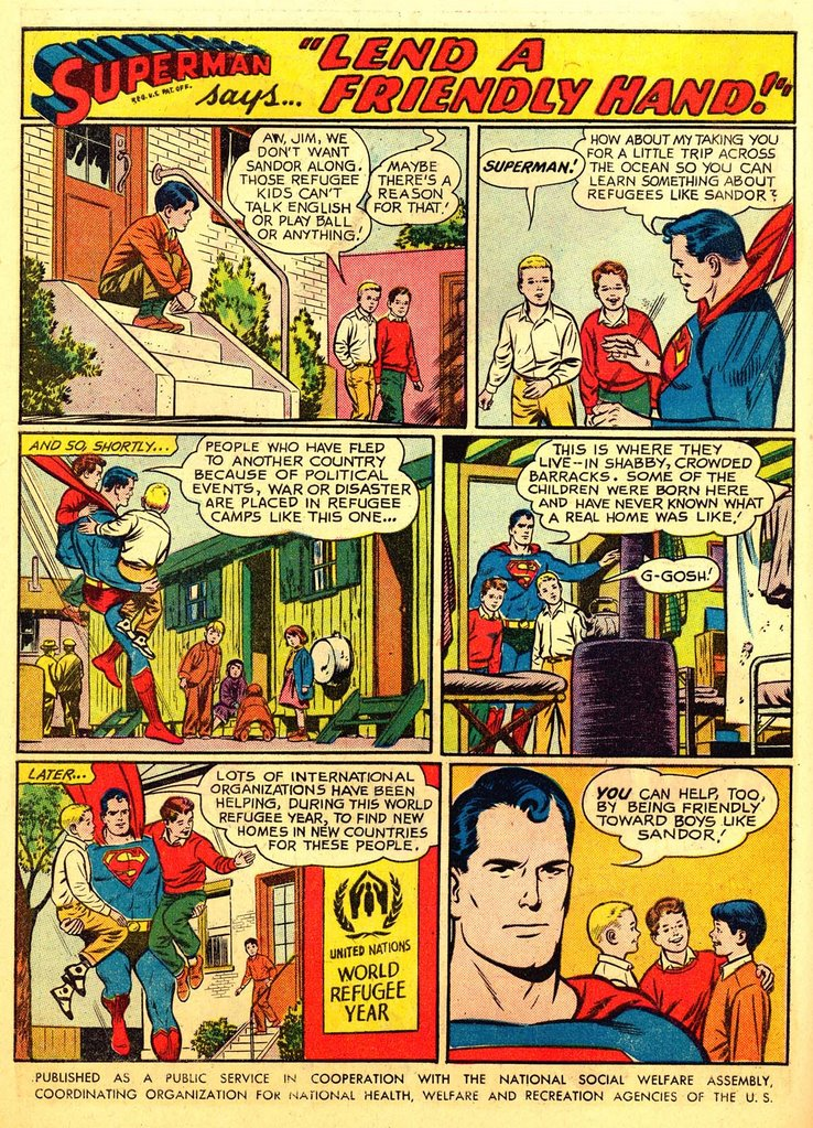 Superman reminds some kids how Americans are supposed to act.