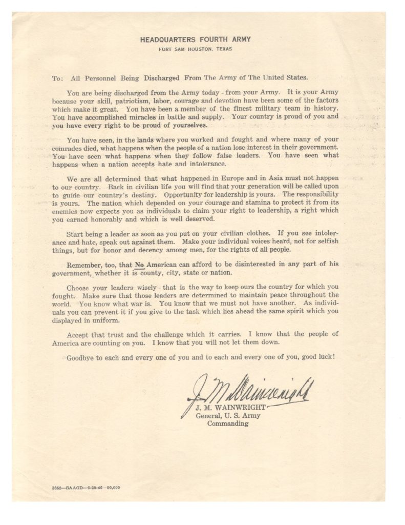 General J.M. Wainwright's 1946 message to discharged soldiers